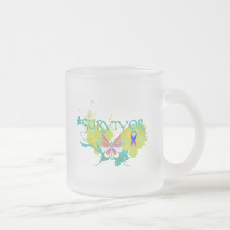 Abstract Butterfly Thyroid Cancer Survivor Frosted Glass Mug
