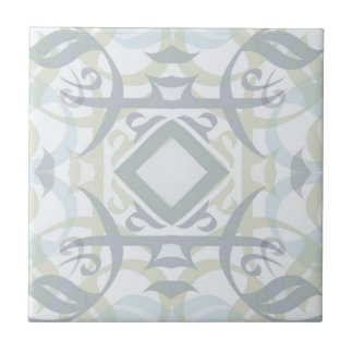 Abstract Calligraphic Tile in Mutli-color Pastel