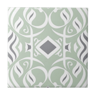 Abstract Calligraphic tile Mint and Gray