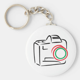 Abstract Camera Basic Round Button Key Ring