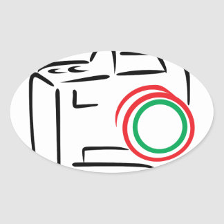 Abstract Camera Oval Sticker