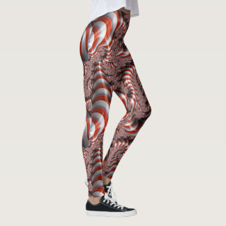 Abstract Candy Cane Christmas Patterned Leggings