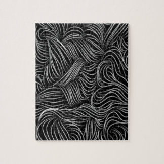 Abstract Cascading Black and White Pattern Jigsaw Puzzle