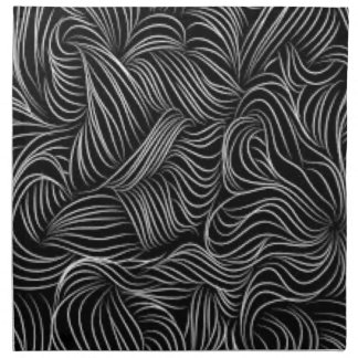 Abstract Cascading Black and White Pattern Napkin