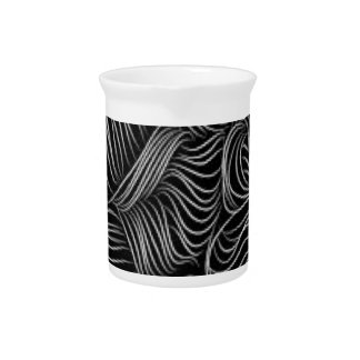 Abstract Cascading Black and White Pattern Pitcher