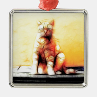 Abstract Cat Christmas Ornament