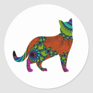 Abstract Cat Round Sticker