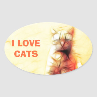Abstract Cat Oval Sticker
