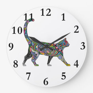 Abstract Cat Wallclock