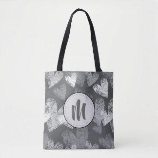 Abstract Charcoal Multi-Tone Hearts Tote Bag