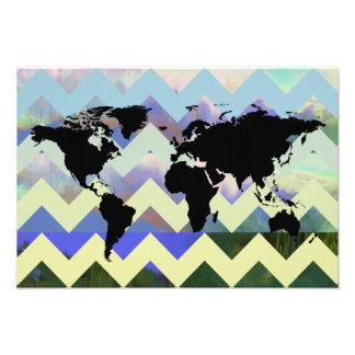 abstract chevron map-of-the-world photo