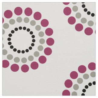 Abstract Chick Grey  Cranberry Black Rings Fabric