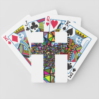 Abstract christmas christ cross bicycle playing cards