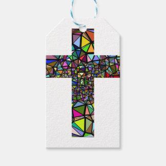 Abstract christmas christ cross gift tags