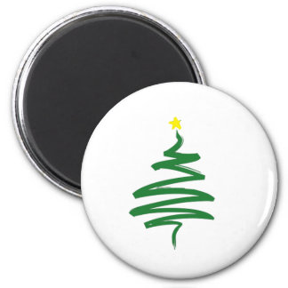 Abstract Christmas tree 6 Cm Round Magnet