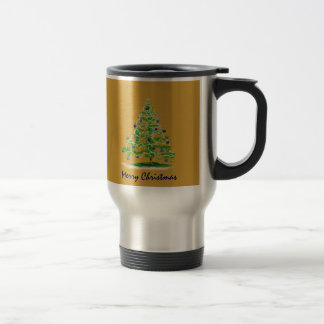 Abstract Christmas Tree Art with Ornaments Mugs