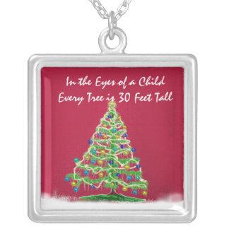 Abstract Christmas Tree Art with Ornaments Personalized Necklace