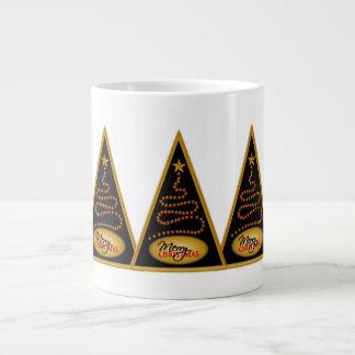 Abstract Christmas Tree Black and Gold JUMBO Mugs