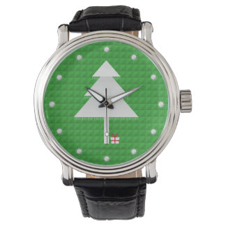 Abstract Christmas Tree Black Vintage Leather Watch