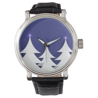 Abstract Christmas Tree Black Vintage Leather Wristwatch