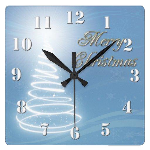 Abstract Christmas Tree Square Wall Clock