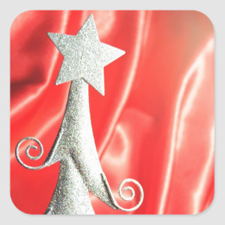 Abstract Christmas tree design Square Stickers