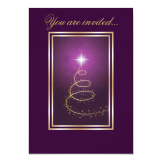 Abstract Christmas Tree glowing purple Card