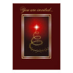 Abstract Christmas Tree glowing red Personalised Invitation