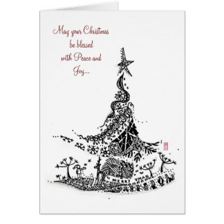 Abstract: christmas tree greeting card