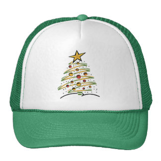 abstract christmas tree trucker hat