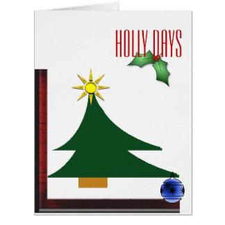 Abstract Christmas tree holly days Big Greeting Card
