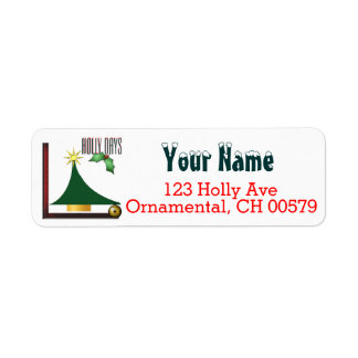 Abstract Christmas tree Holly Days Return Address Label