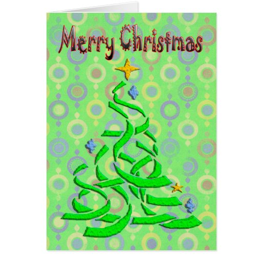 Abstract Christmas Tree in light green with season Greeting Card