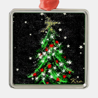 Abstract Christmas Tree on Black Ceramic Ornament