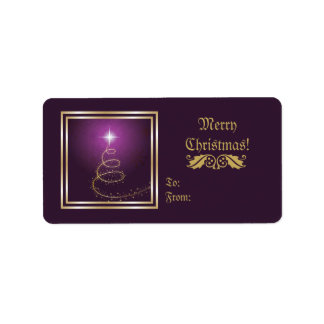 Abstract Christmas Tree On glowing purple label