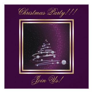 Abstract Christmas Tree Party  purple Invitation