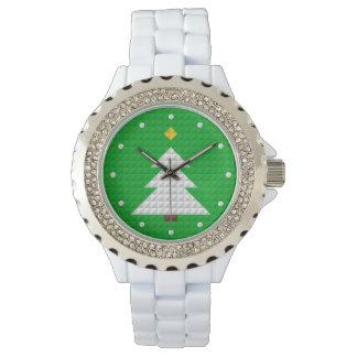 Abstract Christmas Tree Rhinestone White Enamel Wristwatches