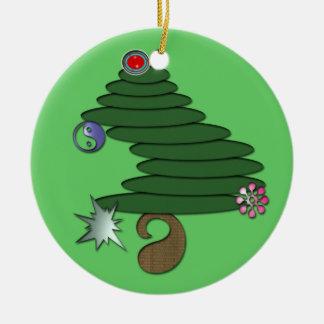 Abstract Christmas Tree Round Ceramic Decoration