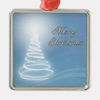 Abstract Christmas Tree Silver-Colored Square Decoration