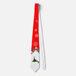Abstract Christmas tree snowflakes red Tie