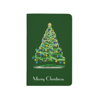Abstract Christmas Tree w Green Background Journal