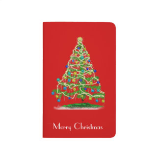Abstract Christmas Tree w Red Background Journal