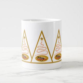 Abstract Christmas Tree White and Gold JUMBO Mugs