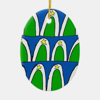Abstract Christmas Trees Ceramic Oval Decoration