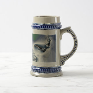 Abstract Chrome White Green Beer Steins