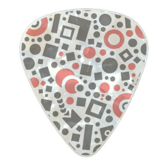 Abstract circle and square pattern pearl celluloid guitar pick