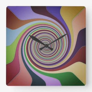 Abstract Circle In MultiColors Square Wall Clock