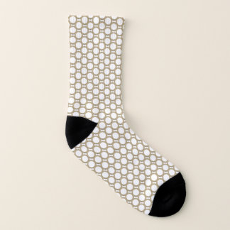 Abstract Circle Print Gold And White Socks 1