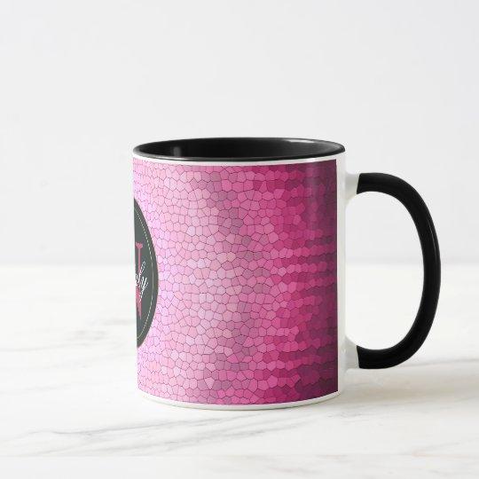 Abstract circle vitrage pink texture. mug