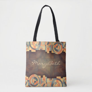 ABSTRACT CIRCLES-Golds-Blues-SOPHISTICATED-Handbag Tote Bag